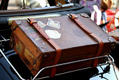suitcase in the luggage rack of vintage car