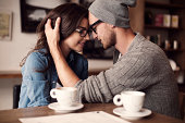 Romantic moments for young couple