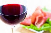 red wine and ham