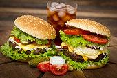 Hamburger on table close up
