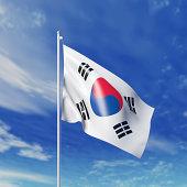 Waving South Korean flag