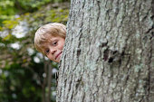 Cute Boy Peeking From Behind Tree
