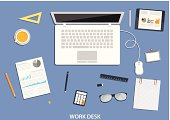 Workspace, flat desktop design with business icons