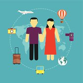 Icons set of traveling,  tourism and journey planning
