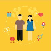 Young couple, wedding concept with icons, family planning, flat design.