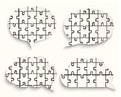 Abstract speech bubbles with pieces of paper puzzles