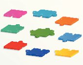 Parts of colorful puzzles on a white background.