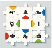 Parts puzzles with icons. Business concept, infographics