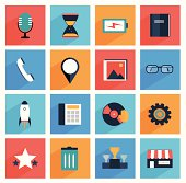 Flat  media and office icons with long shadow,  SEO website