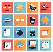Flat  business and office icons with long shadow,  SEO website