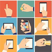 Business hands action, pointers to touch digital devices, e-commerce.