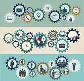 Concept of mechanisms with business icons, workforce