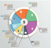Pie chart with icons, infographics, for web and mobile, banner