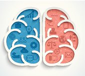 Brain with business icons on white background