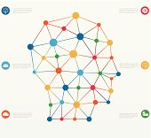 Network connections lines. infographics template with icons