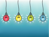 Idea, business concept, colorful light bulb on blue background.