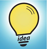 Light bulb on blue background, concept of successful idea