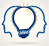 Thinking head lamp illuminating brain, unity of thought, new idea