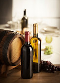 Wine selection with barrel and grapes