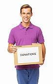 Smiling Man Carrying Donation Box
