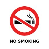 No smoking symbol and text on white background