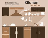 Kitchen interior in flat infographic style