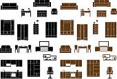 Furniture flat icons set