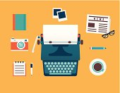 Vector flat illustration of workplace of typewriter with documents