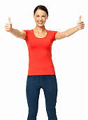 Happy Young Woman Showing Double Thumbs Up