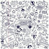 Back to school doodle mega set. School notebook. Vector illustration.