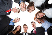 Business people standing in circle