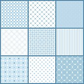 Blue seamless patterns set