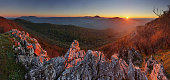 Nature mountain sunset - panoramic, Slovakia, Male Karpaty
