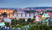 Prague cityscape at twilight