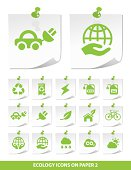 Ecology Icons on Notepaper.