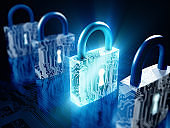 Cyber security concept with locks