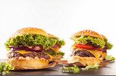 Fresh hamburgers isolated on white background