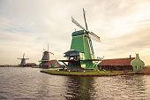 Windmills in Zaanse Schans village (Netherlands)