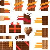 Set of chocolate decorative elements