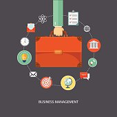 Hand holding briefcase with icons. Business management flat illu