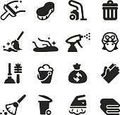 Cleaning Silhouette Icons | EPS10