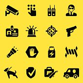 Security Guard Yellow Silhouette icons   EPS10