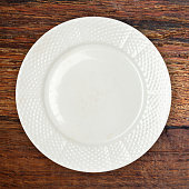 Plate on wooden table