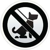 No Dog Pooping Warning sign in Black and White