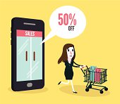 Women shopping online by smartphone.