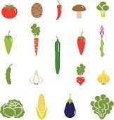 Vegetables color icon set