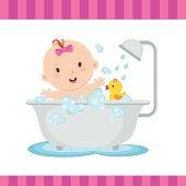 Beauty baby girl bath