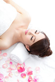 woman enjoy massage at spa