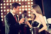 couple enjoying champagne