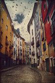 Vivid houses of Cuenca town, Spain